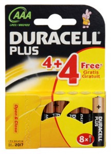 Duracell Plus 4 x AAA MN2400 with 4 x FREE AAA Batteries