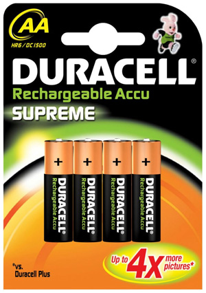 Duracell Supreme 4 x AA Rechargeable Batteries