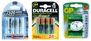Ansmann Duracell and GP Rechargeable AA Batteries
