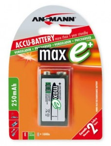Ansmann maxE+ PP3 8.4V 250mAh Rechargeable Battery