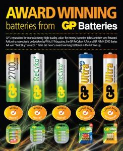 Award Winning Batteries Award from GP Batteries