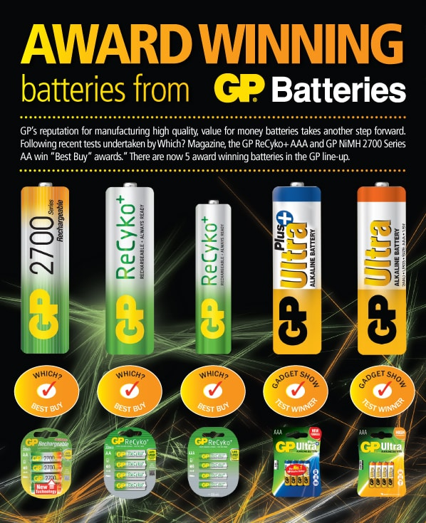 Award Winning Batteries Award from GP Batteries