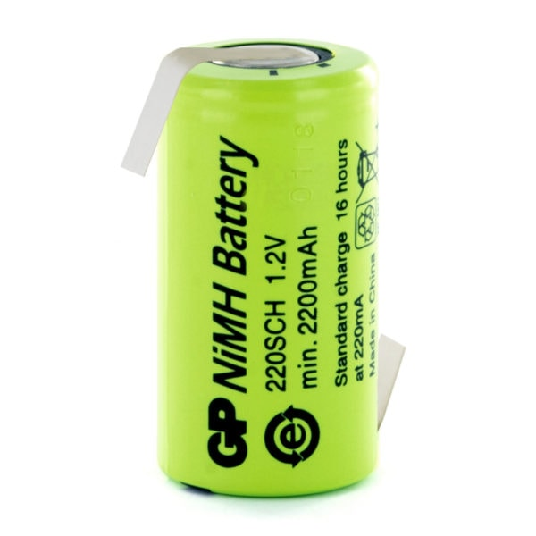 GP Batteries GP220SCHHB Sub C Rechargeable Opposite Tagged Battery