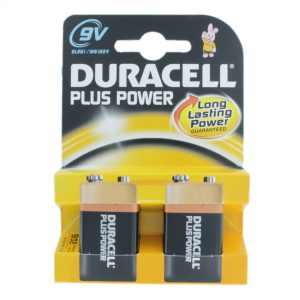 Duracell Plus 2 x PP3 (9V / MN1604) Batteries
