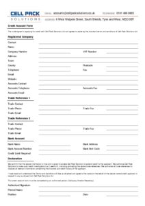 Credit Account Form