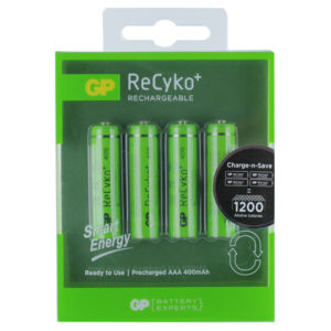 GP Batteries ReCyko+ 400mAh AAA Rechargeable Batteries | Pack of 4