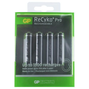 GP Batteries ReCyko+ Pro AAA Rechargeable Batteries | Pack of 4