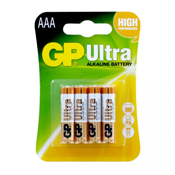 GP Batteries Ultra Alkaline AAA Batteries Pack Of 4