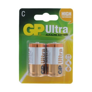 GP Batteries Ultra Alkaline C Batteries | Pack of 2