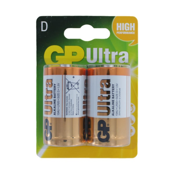 GP Batteries Ultra Alkaline D Batteries | Pack of 2