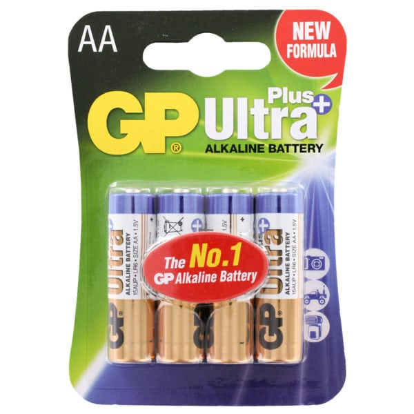 GP Batteries Ultra Plus Alkaline AA Batteries | Pack of 4