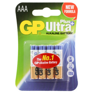GP Batteries Ultra Plus Alkaline AAA Batteries | Pack of 4