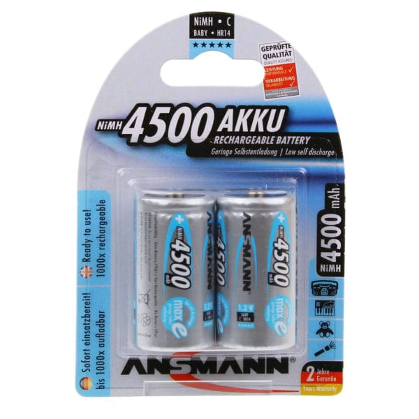 Ansmann maxE C 4500mAh Rechargeable Batteries | Pack of 2