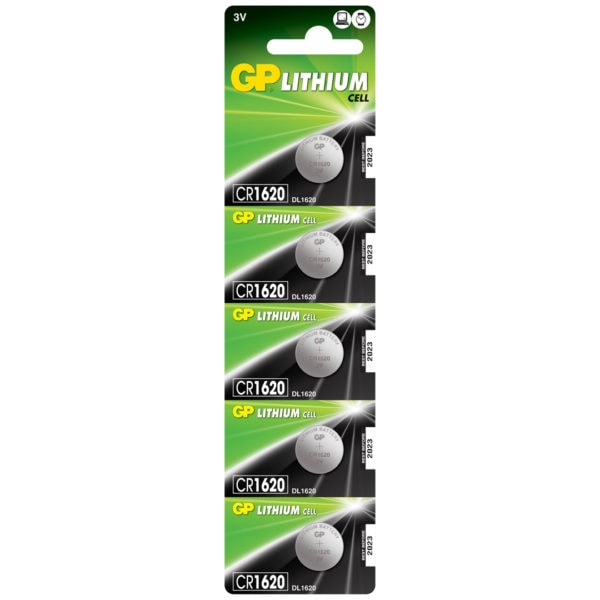 GP Batteries CR1620 Lithium Coin Cell Batteries | Pack of 5