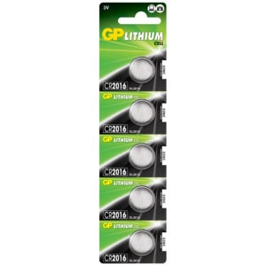 GP Batteries CR2016 Lithium Coin Cell Batteries | Pack of 5