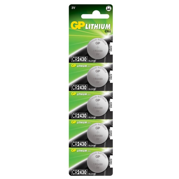 GP Batteries CR2430 Lithium Coin Cell Batteries | Pack of 5