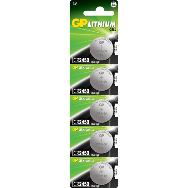 GP Batteries CR2450 Lithium Coin Cell Batteries | Pack of 5