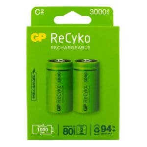 GP Batteries ReCyko+ 3000mAh C Rechargeable Batteries | Pack of 2