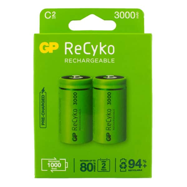 GP Batteries ReCyko+ 3000mAh C Rechargeable Batteries | Pack of 2