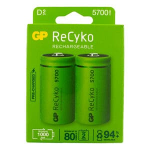 GP Batteries ReCyko+ 5700mAh D Rechargeable Batteries | Pack of 2