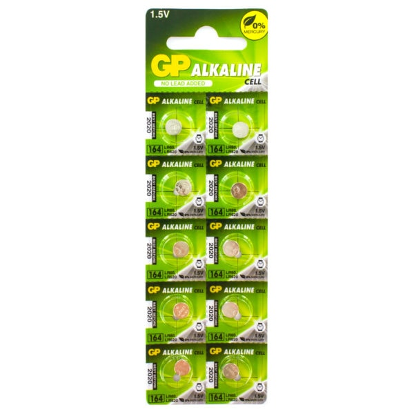 GP Batteries Alkaline Button 164 Batteries | Pack of 10