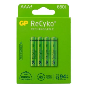 GP Batteries ReCyko+ 650mAh AAA Rechargeable Batteries Pack of 4