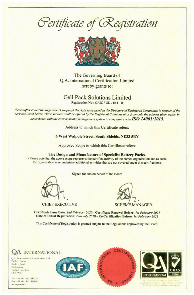 Cell Pack Solutions ISO 140012015 EMS Certificate