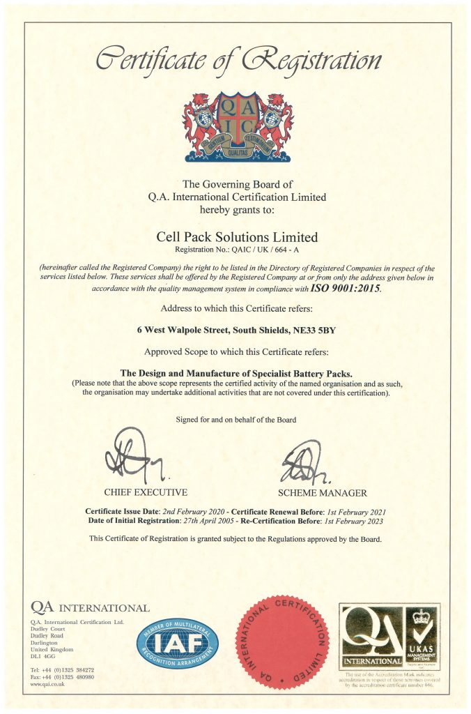 Cell Pack Solutions ISO 90012015QMS Certificate